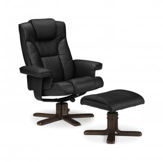 Malmo Recliner & Footstool – Black or Brown