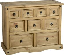 Dark Corona 4+3+2 Drawer Merchant Chest Distressed Waxed Pine