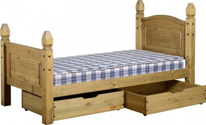 Dark Corona Under Bed Drawers Distressed Waxed Pine (pair)