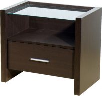 Denver 1 Drawer Bedside Cabinet Expresso Brown/Clear Glass