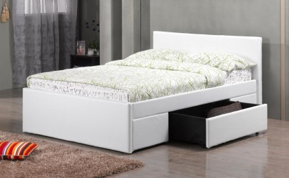 Fusion 2 Drawer PU Double Bed Black, Brown, White
