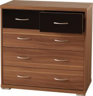 Hollywood 3+2 Drawer Chest Walnut Veneer/Black Gloss