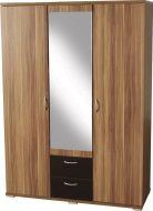 Hollywood 3 Door 2 Drawer Mirrorred Wardrobe Walnut Veneer/Black Gloss