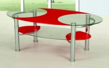 Ibis Coffee Table, Chrome and Black or Chrome and Red