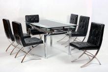 Luxor Extending  6 PU Chrome Chairs Black