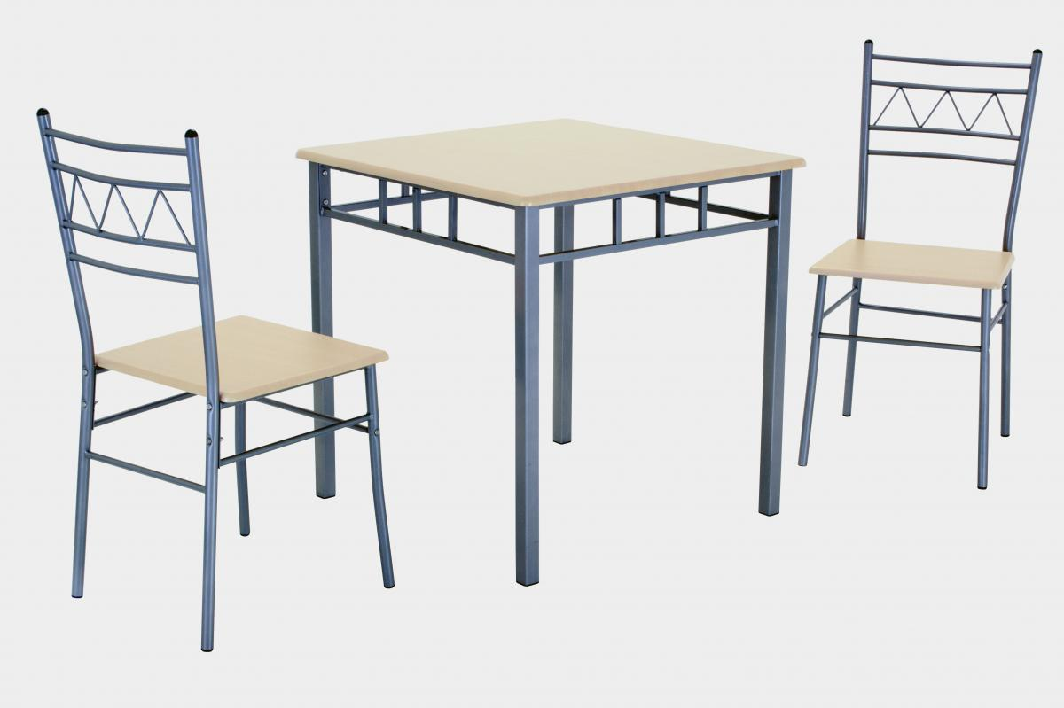 Oslo Small Dining Set With 2 Chairs Silver U0026 Beech