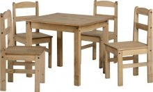 Panama Pine Dining Set in Natural Wax