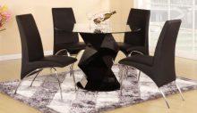 Rowley Dining Set  + 4 PU Chrome Chairs, Black or White   . High Gloss