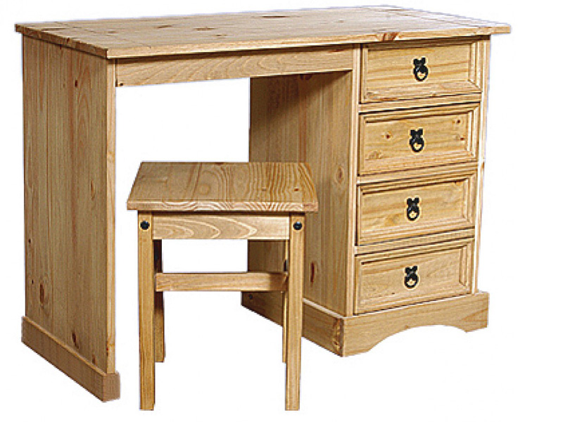 Light Corona Dressing Table 4 Drawer & Stool
