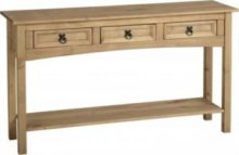 Dark Corona 3 Drawer Console Table with Shelf in Distressed Waxed Pine