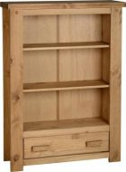 Tortilla 1 Drawer Bookcase in Distressed Waxed Pine