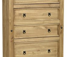 Dark Corona 4 Drawer Chest Distressed Waxed Pine