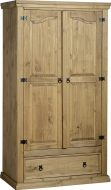 Dark Corona 2 Door 1 Drawer Wardrobe