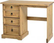 Dark Corona 4 Drawer Dressing Table Distressed Waxed Pine