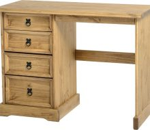Dark Corona 4 Drawer Dressing Table Distressed Waxed Pine