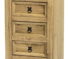 Dark Corona 5 Drawer Chest (Narrow) Distressed Waxed Pine