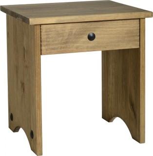 Dark Corona Dressing Table Stool Distressed Waxed Pine