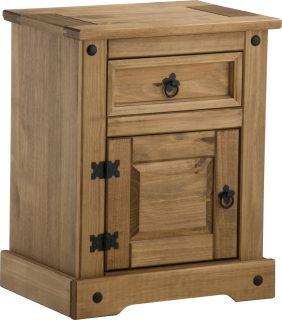Dark Corona 1 Drawer 1 Door Bedside Cabinet