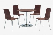 Fiji Round Pedestal Dining Set with 4 Chairs Walnut