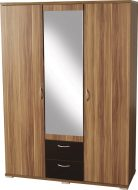 Hollywood 3 Door 2 Drawer Mirrorred Wardrobe Walnut Veneer/Black Gloss