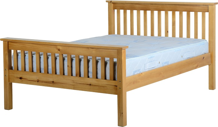 Monaco 4'6″ Bed High Foot End – White or Antique Pine