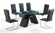 Reno Dining Set High Gloss Black 6 Chairs