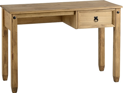 Budget Mexican Study Desk in Distressed Waxed Pine