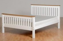 Monaco 4'6″ Bed High Foot End in White/Distressed Waxed Pine