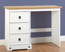 Corona 3 Drawer Dressing Table in White/Distressed Waxed Pine
